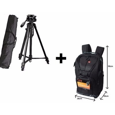 Mochila Easy Para Câmera Digital - EC-8805 Preta E Tripé Digipod - TR-462