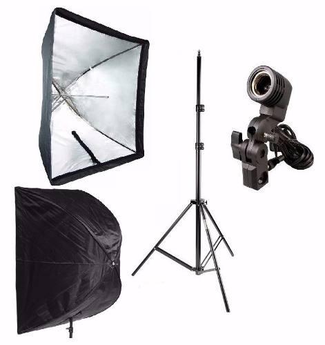 Kit 3x1 Para Estudio Fotografico Tripé 2M + Soquete Simples + Softbox 60x90cm