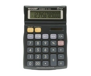 Calculadora Sharp de 12 dígitos com visor articulado e laterais emborrachadas - El124A