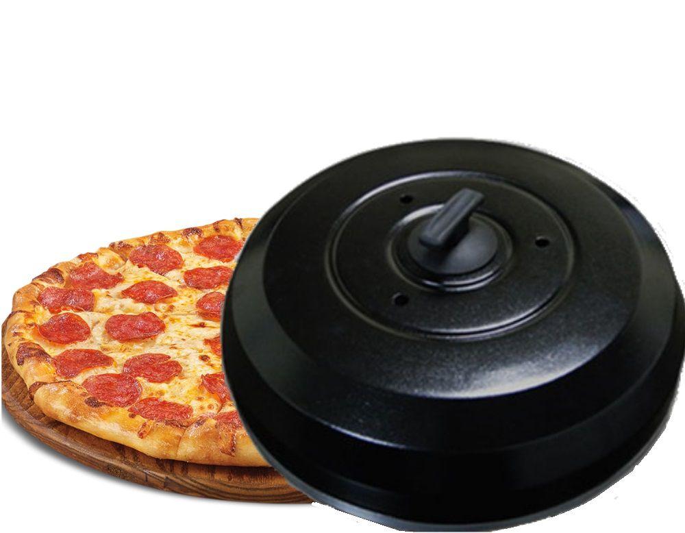 Abafador de Pizza Preto em Alúminio Grande 40cm