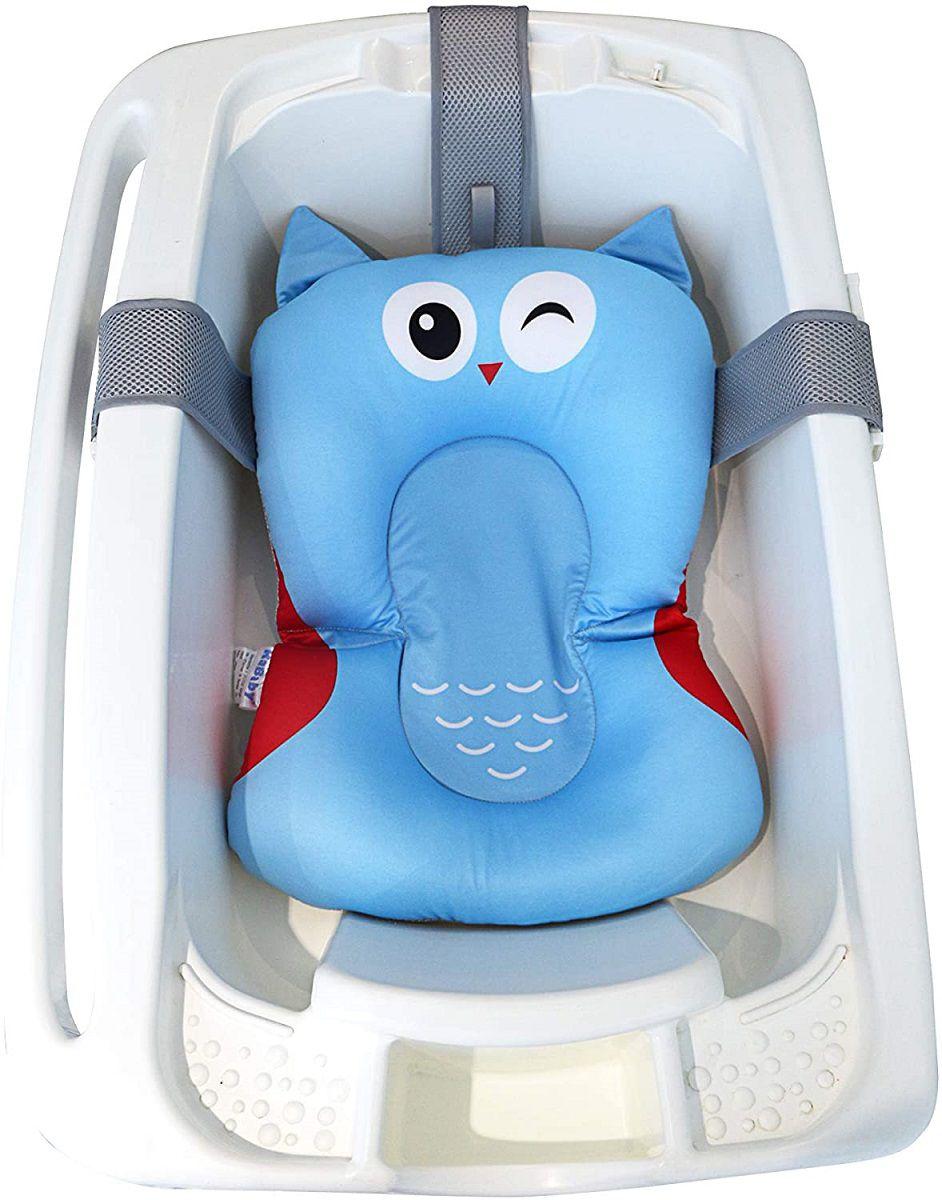 Almofada de Banho Soft Para Bebê Azul Coruja Kababy - 22102C