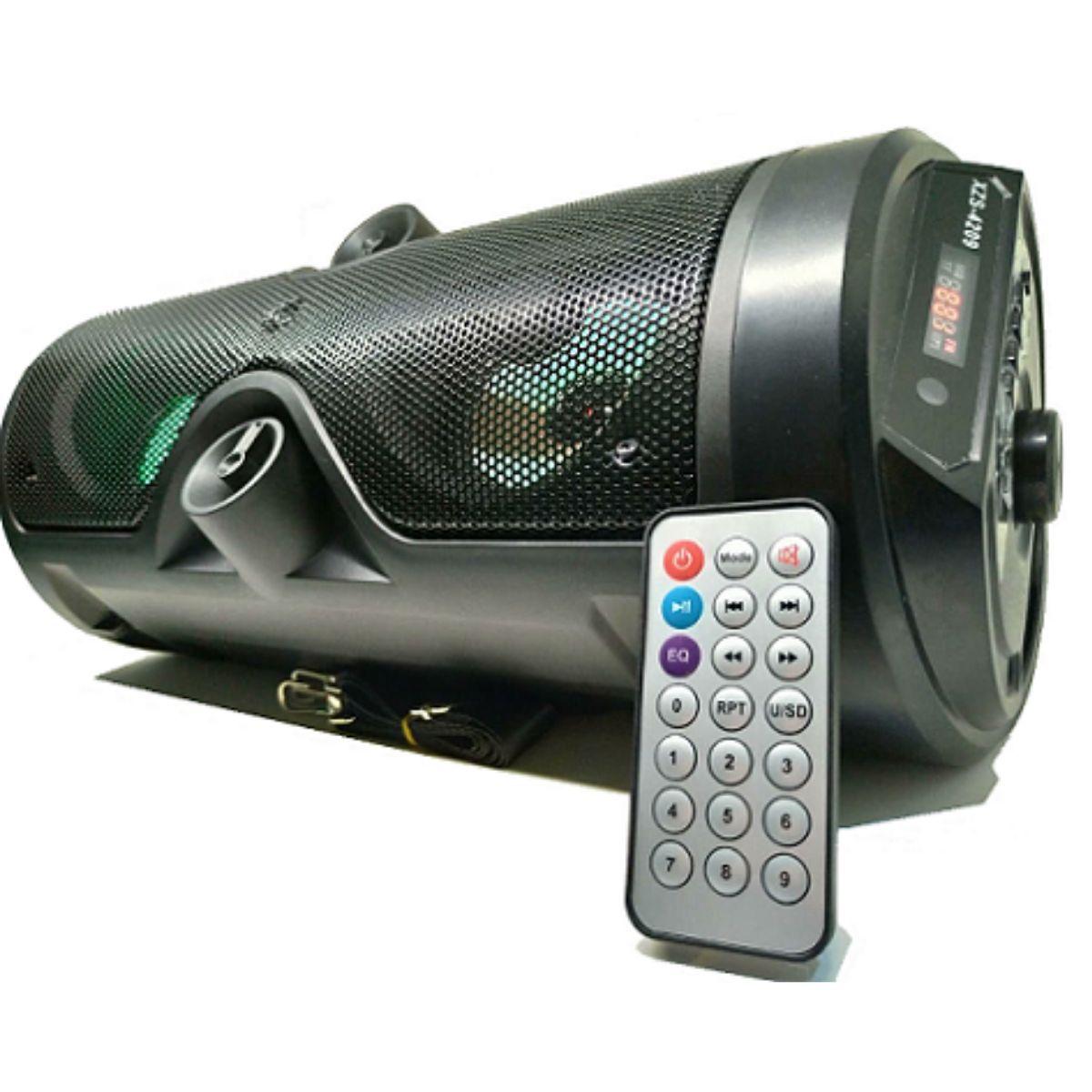 Caixa De Som Bluetooth FM Aux USB SD Entrada Microfone Com Controle E Alça - XZS-4209