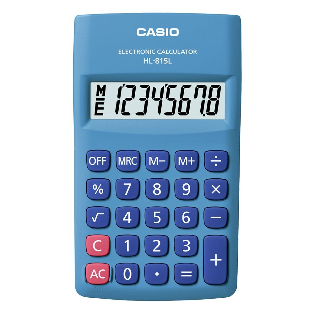 Calculadora Casio de bolso vertical c/ visor 8 dígitos - HL-815L-BU