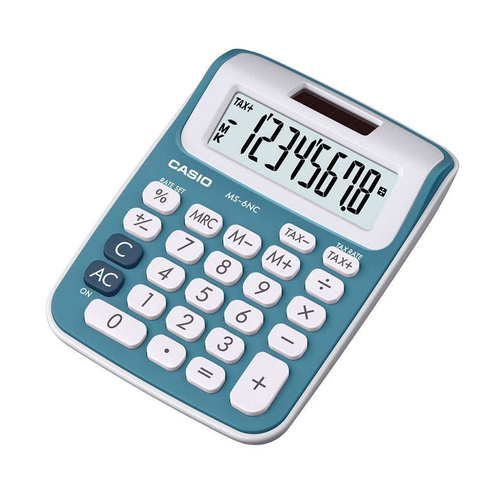 Mini calculadora Casio de mesa c/ visor 8 dígitos Azul - MS-6NC-BU