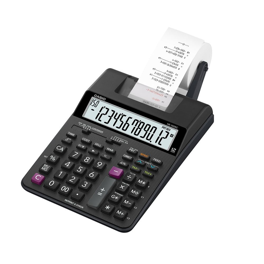 Calculadora Casio c/ impressora, 12 dígitos - HR-100RC