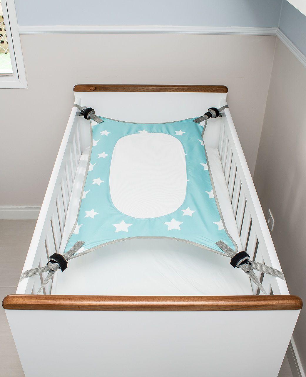 Cama Segura Primeiro Sono Redinha para Berço de Bebê - VERDE ÁGUA