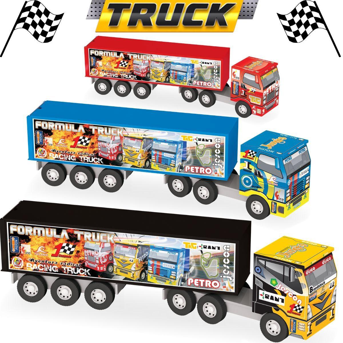 Caminhão Carreta Com Baú Fórmula Truck Articulável Em Madeira De MDF - 108