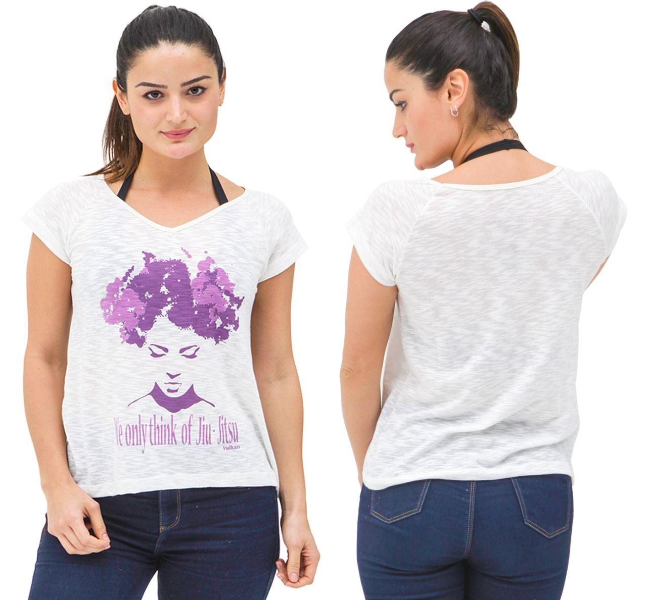 Camiseta Bege Feminina Jiu Jitsu Vulkan - ONE & ONLY BEGE