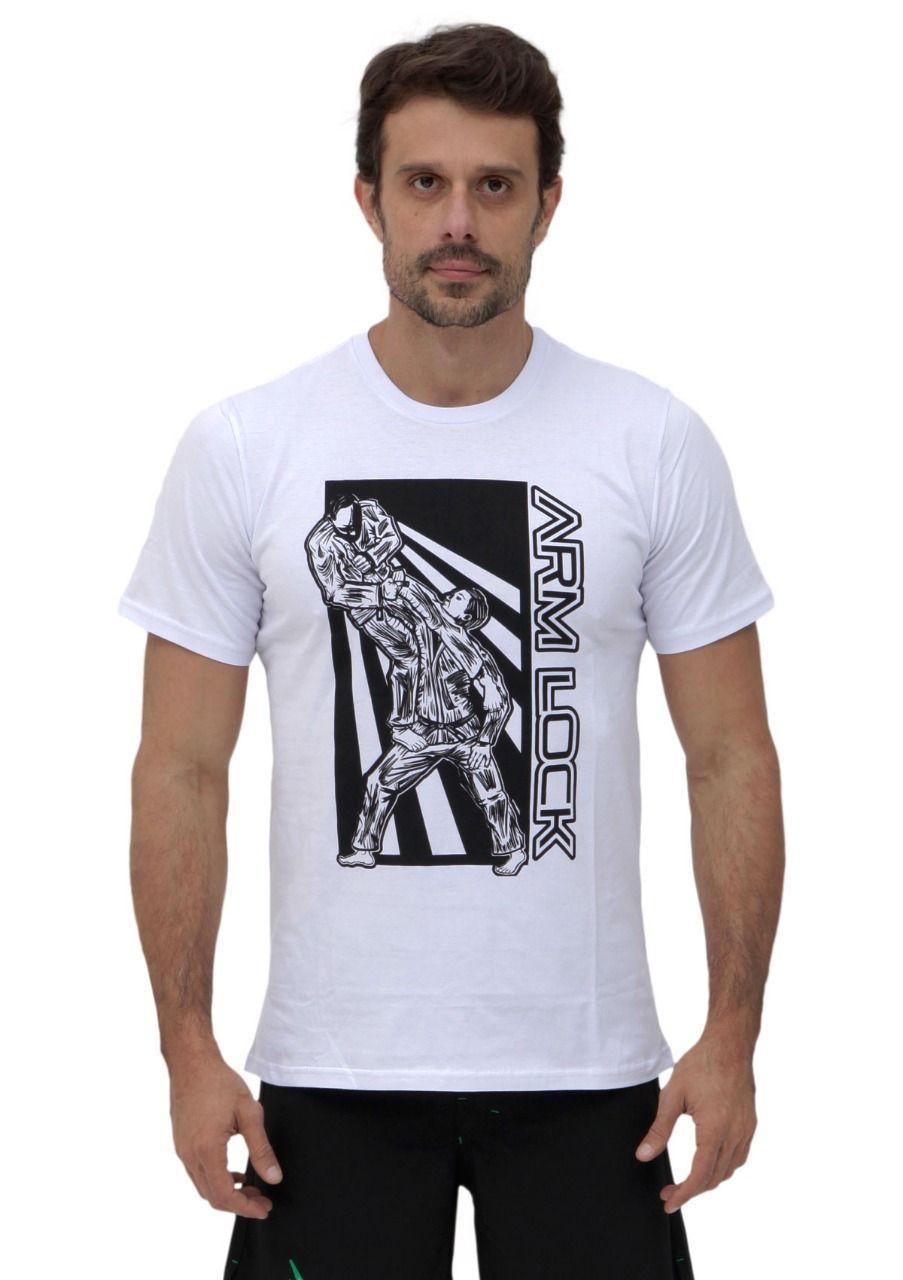 Camiseta Branca Vulkan Masculina Jiu Jitsu - ARM LOCK BRANCA