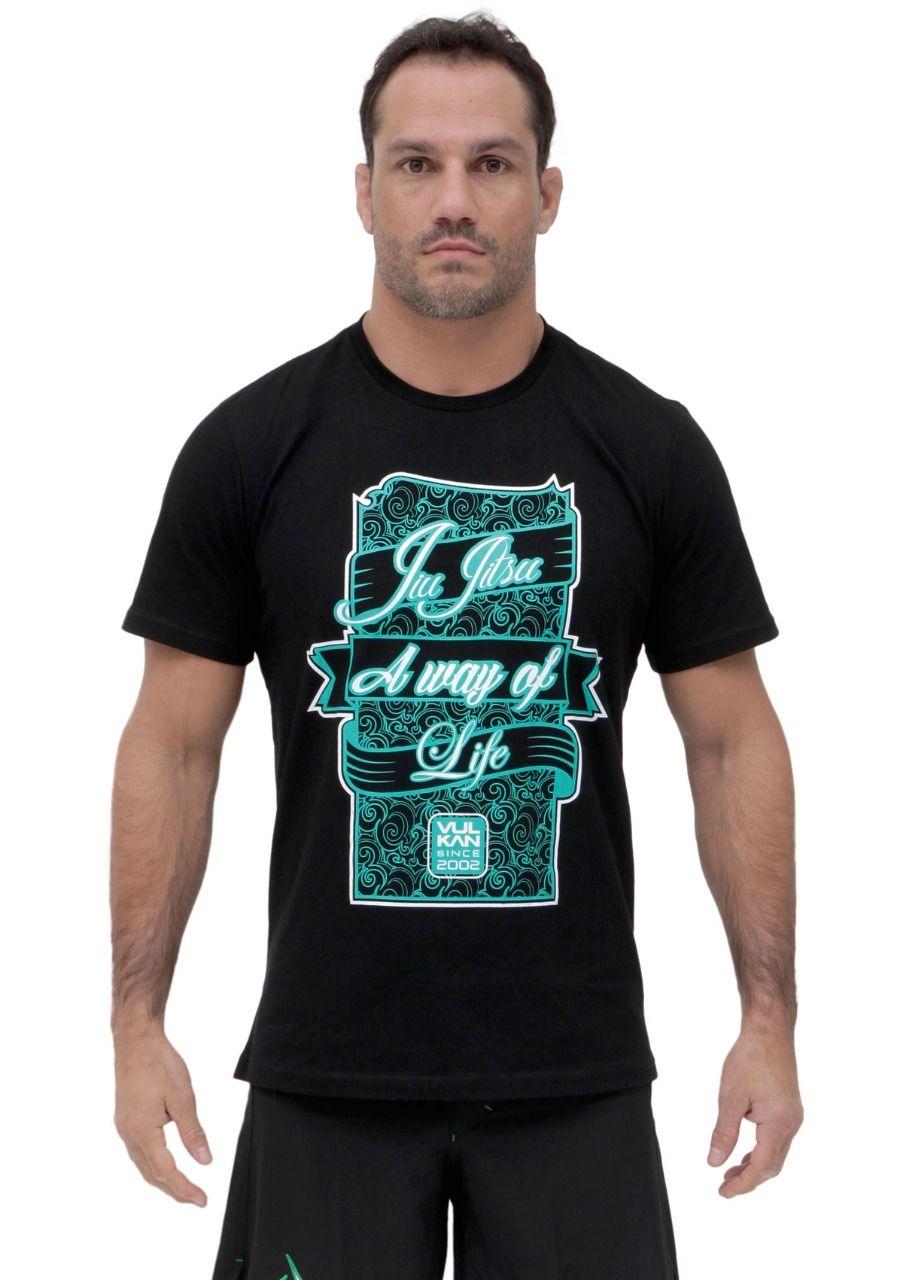Camiseta Preta Jiu Jitsu Vulkan Masculina - A WAY OF LIVE PRETA