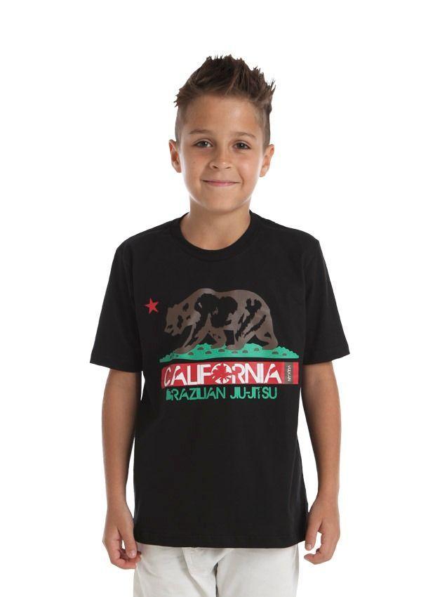 Camiseta Jiu Jitsu Preta Infantil Masculino Vulkan - CALI KIDS PRETA
