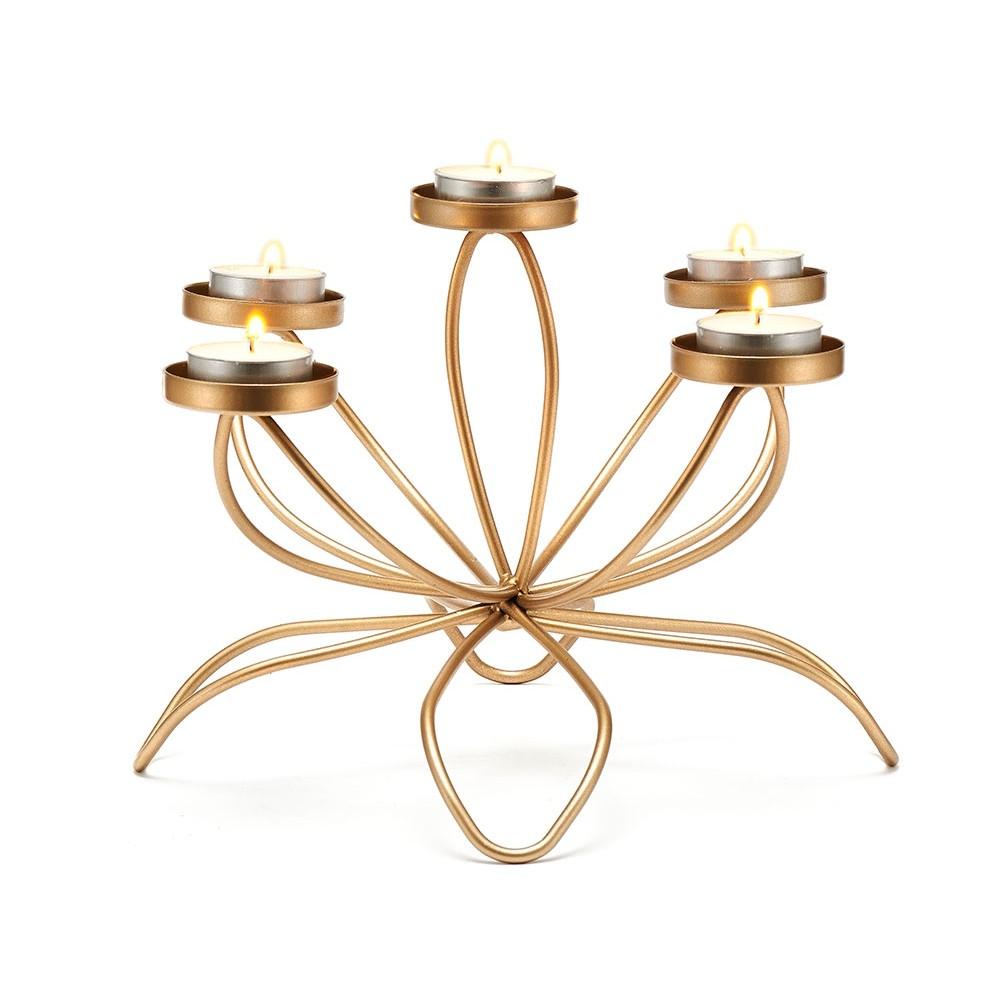 Castiçal Dourado Para Vela e Decoração 27X26,5X18,5 cm Bencafil  - 160001