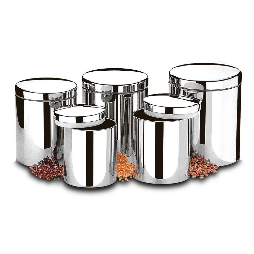 Conjunto de Potes Para Mantimentos Com Tampa - 5 Pecas - 2100 - 101