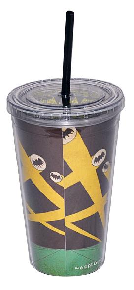 Copo Plástico Dc Com Tampa E Canudo Batman - 75025478