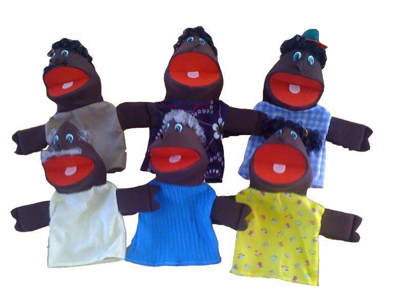 Fantoche Em Espuma Familia Negra - 6 Peças - Jodane 3004