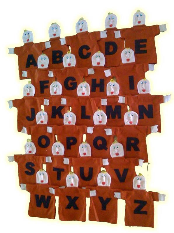 Fantoches De Feltro Alfabetização - 26 peças - Jodane 1002