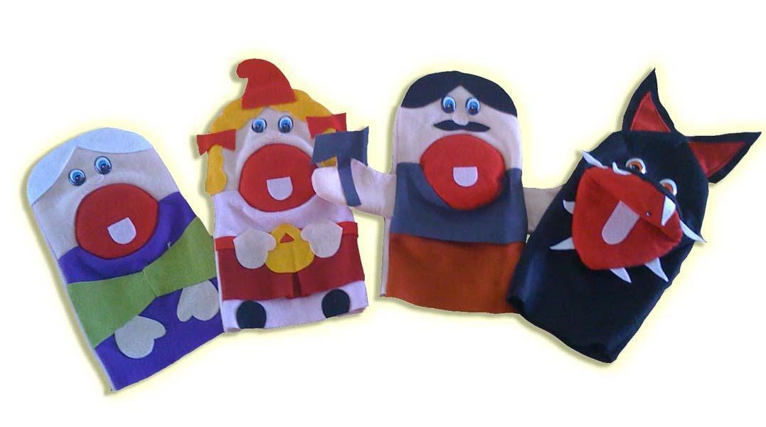 Fantoches em Feltro Chapeuzinho Vermelho - 4 Peças - Jodane 1009