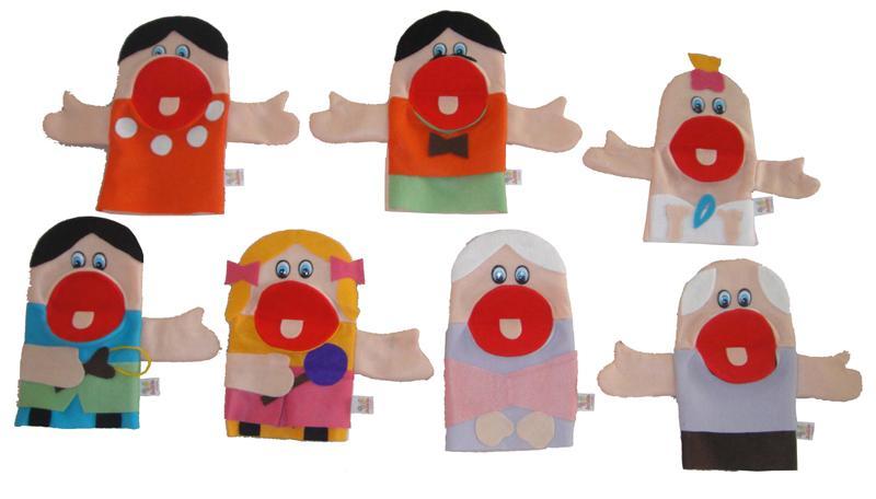 Fantoches de Mão em Feltro Família Branca - 7 Peças - Jodane 1010
