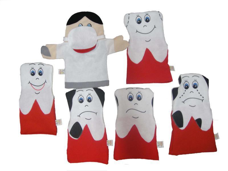 Fantoches em Feltro Família Dentária - 6 Peças - Jodane 1011
