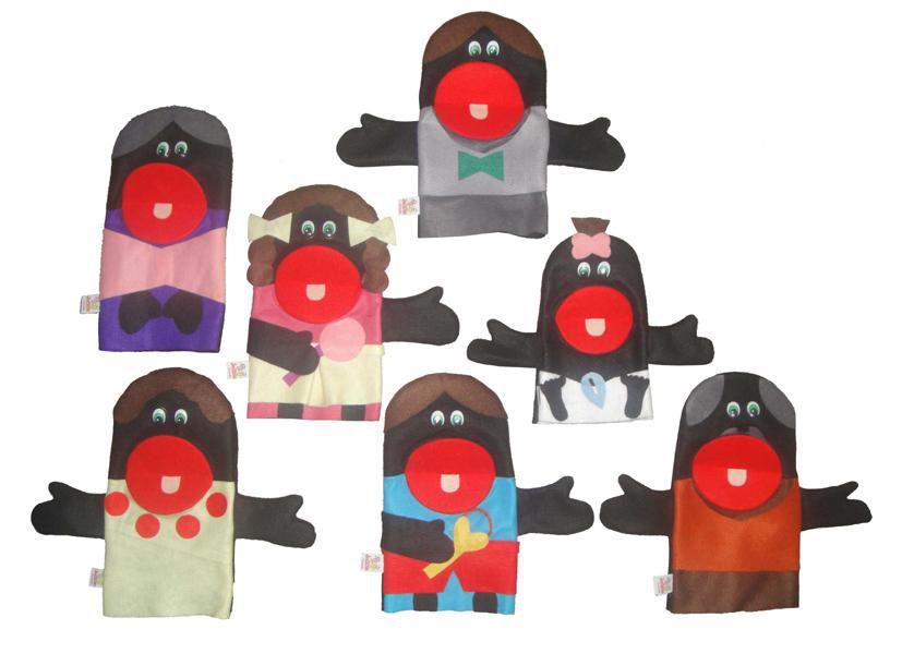 Fantoches em Feltro Família Negra - 7 Peças - Jodane 1012