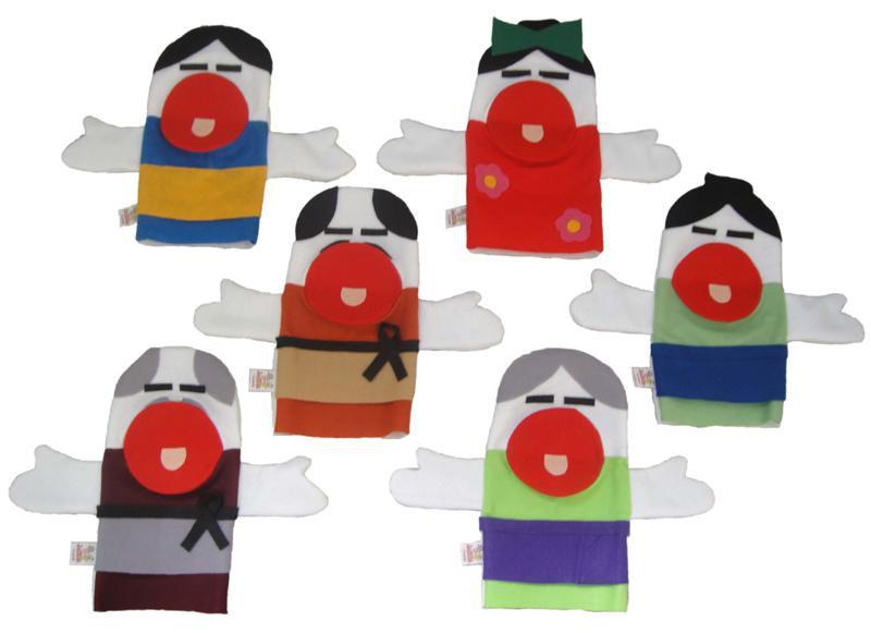 Fantoches em Feltro Orientais - 6 Peças - Jodane 1020