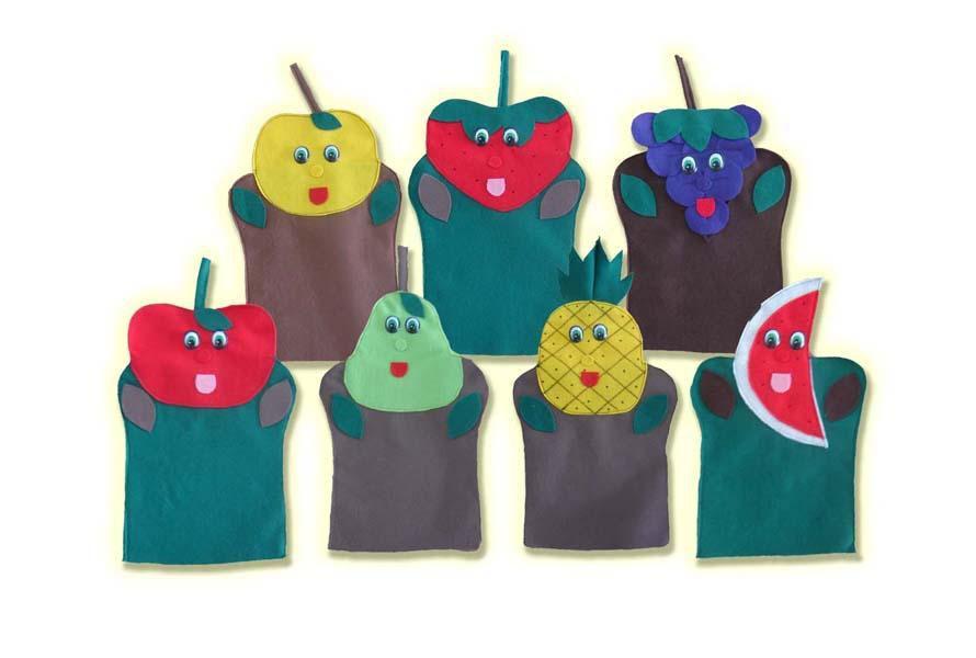 Fantoches em Feltro Salada de Frutas - 7 Peças - Jodane 1024