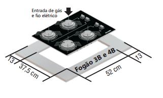 Fogão Mueller Cooktop  Bivolt A Gás GLP ou GN Preto 4 Bocas Em Vidro Temperado - Cooktop 4B G3 Preto