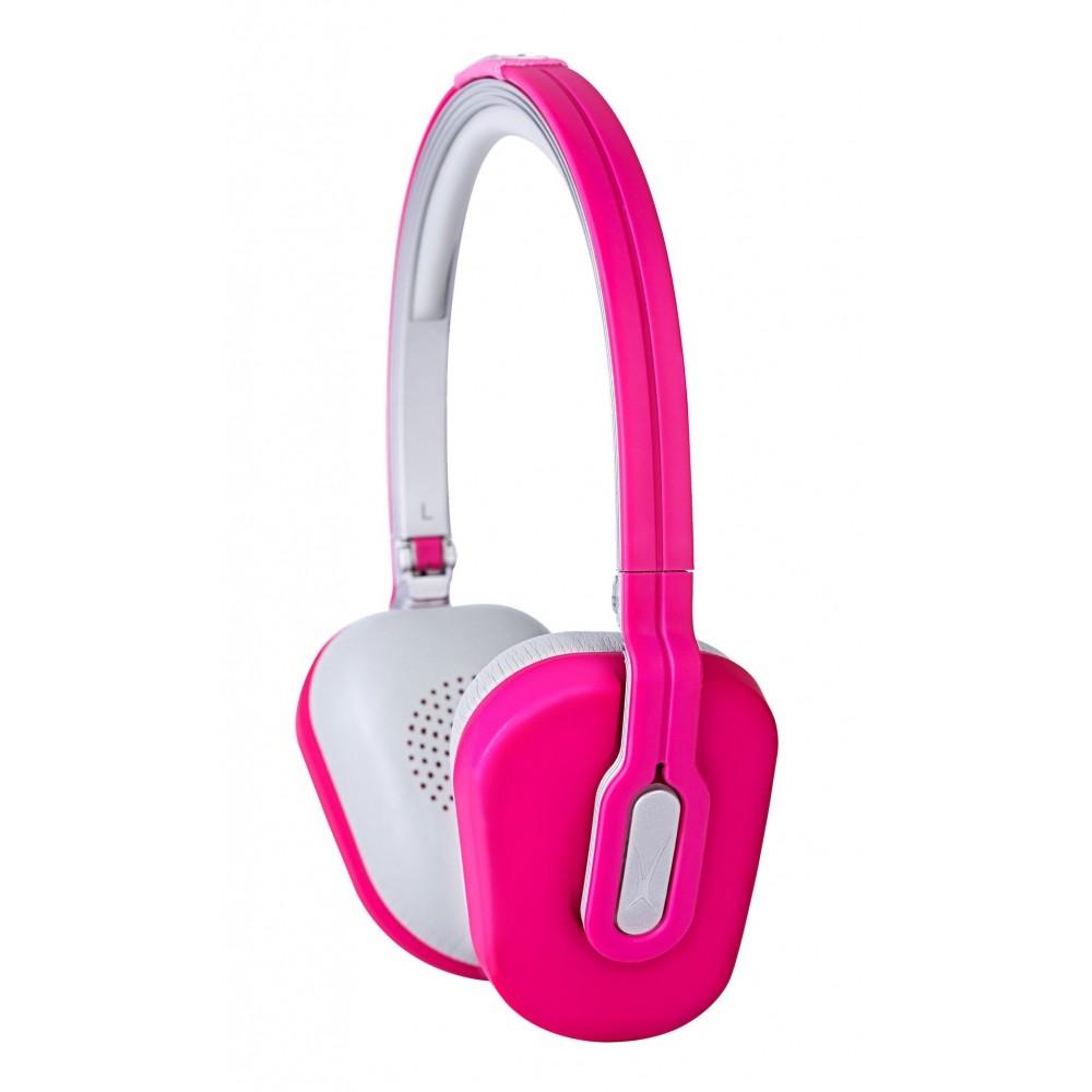 Fone de Ouvido Fashion Rosa Dobrável com Microfone, Controle de Volume e Case - MZX662
