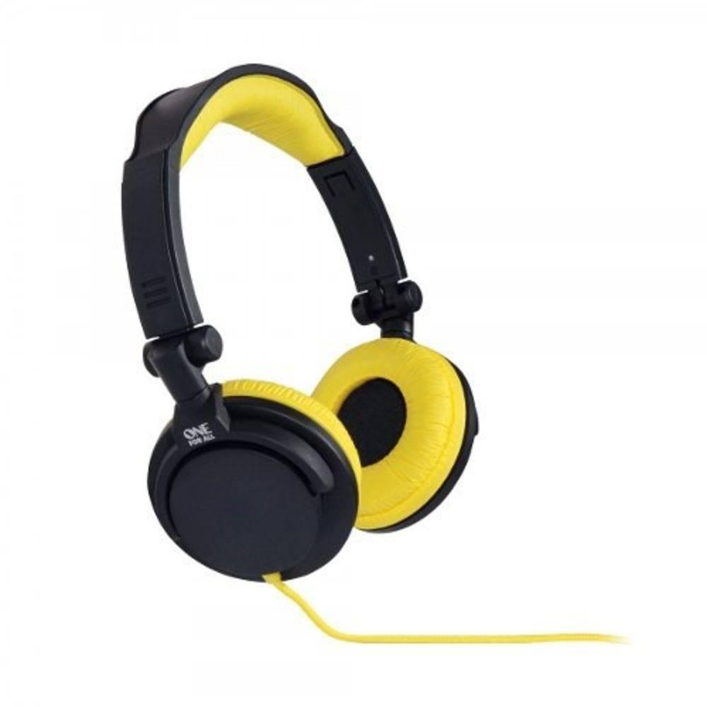 Fone De Ouvido One For All Headphone Estéreo Full Bass Dj Amarelo - Sv5612