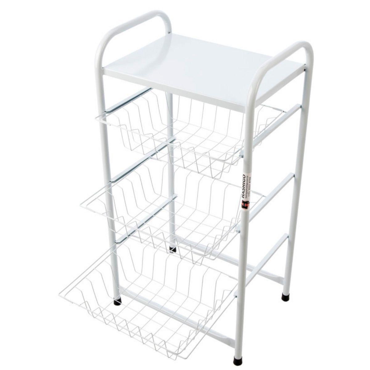 Fruteira 3 Cestos Para Cozinha De Metal Branca Resistente Hashigo Hashigo - H-031