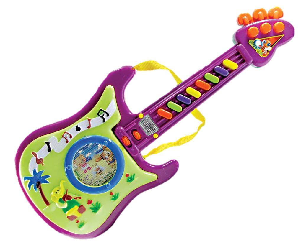 Guitarra Infantil Musical Colorida Com Luz e Sons Diversos - 958