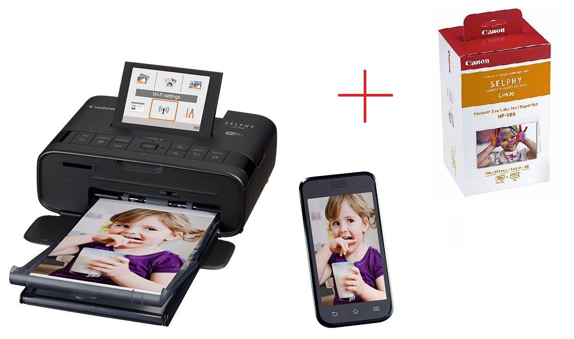 Impressora Fotográfica Canon Wifi + Kit Impressão - CP1300 + RP108