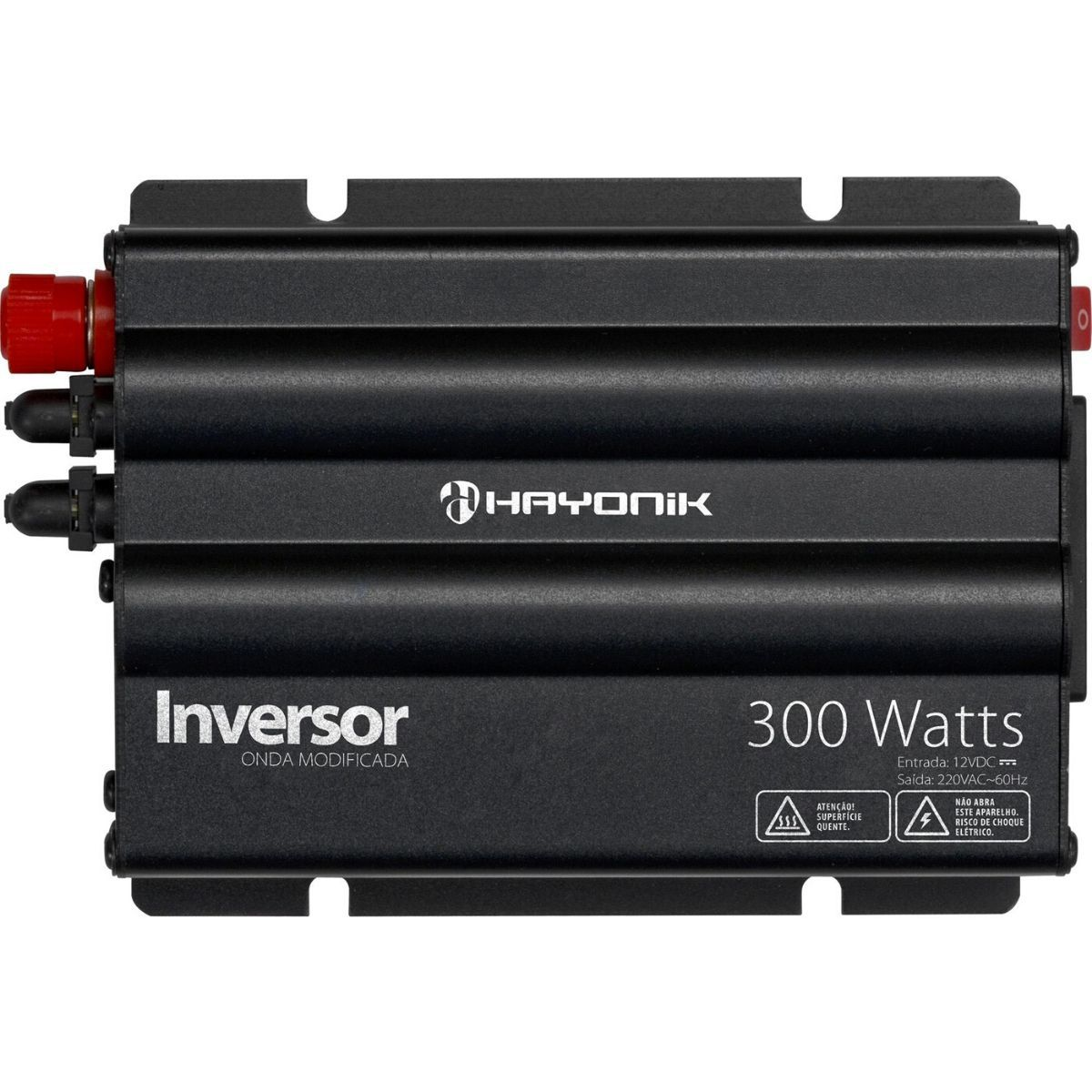Inversor 300W 12VDC/220V Onda Modificada Cinza Escuro - HAYONIK