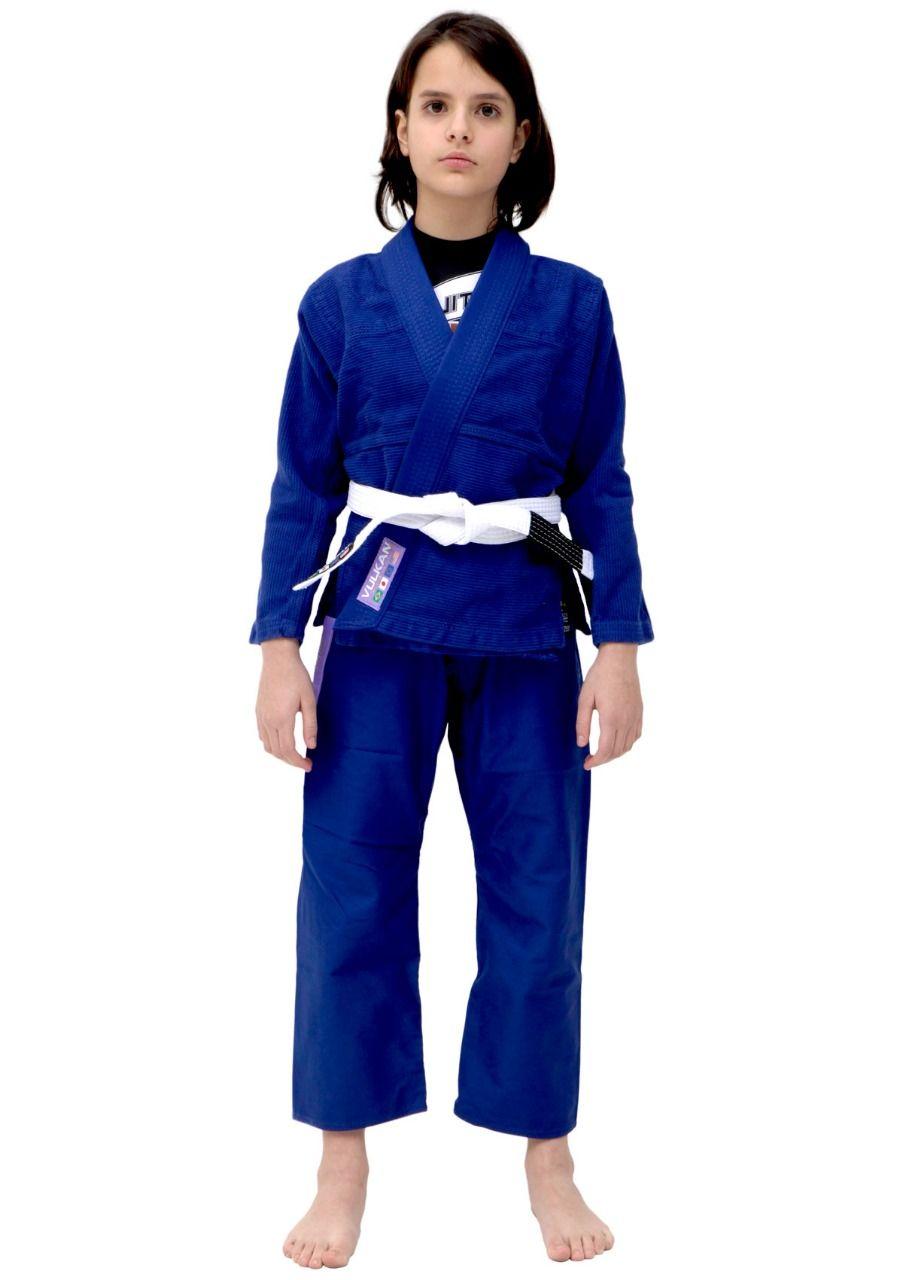 Kimono Vulkan Infantil Para Jiu Jitsu - VKN Pro Azul Royal Feminino
