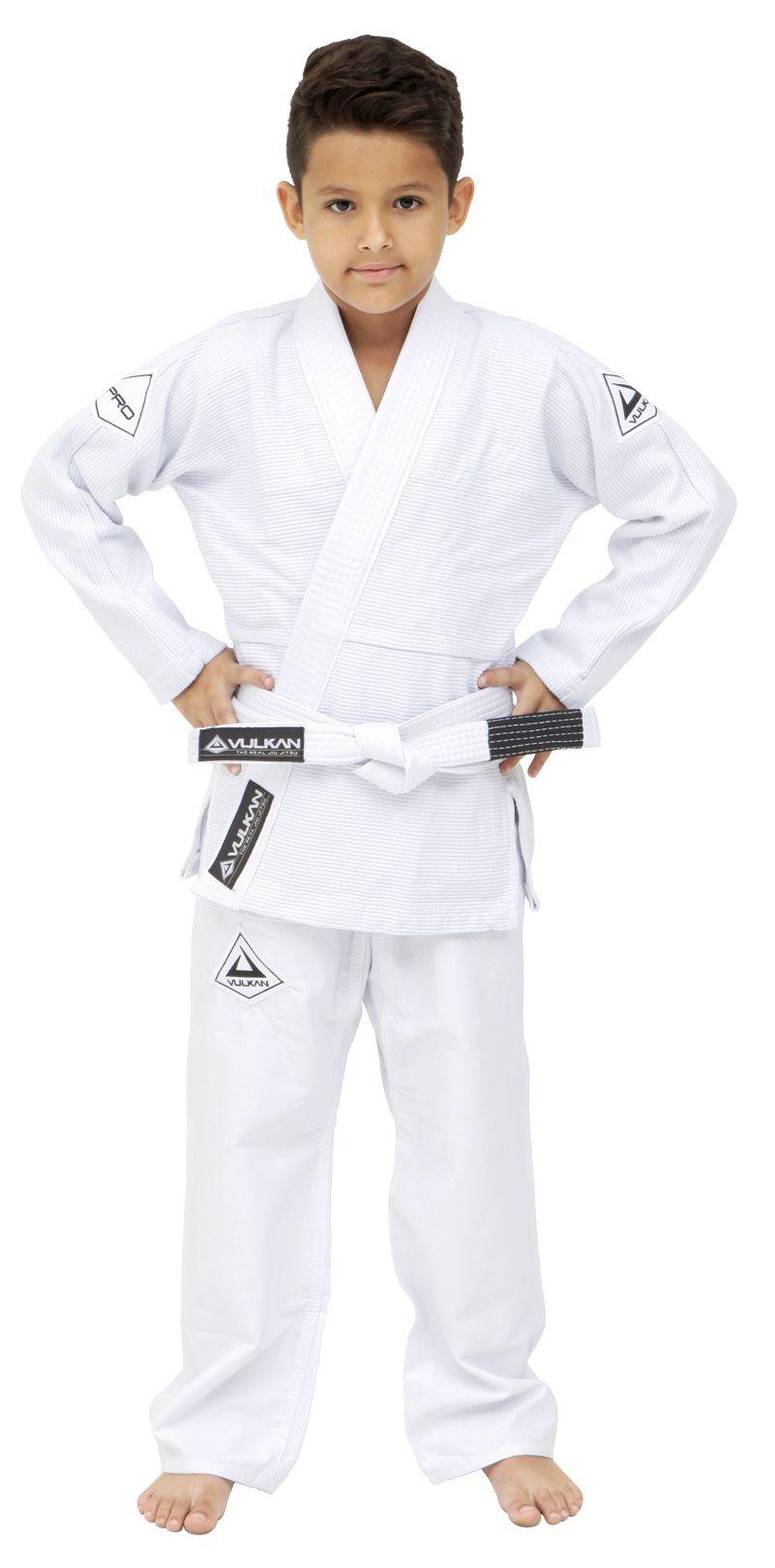 Kimono Vulkan Para Jiu-jitsu Profissional Infantil - Pro Evolution Branco Masculino