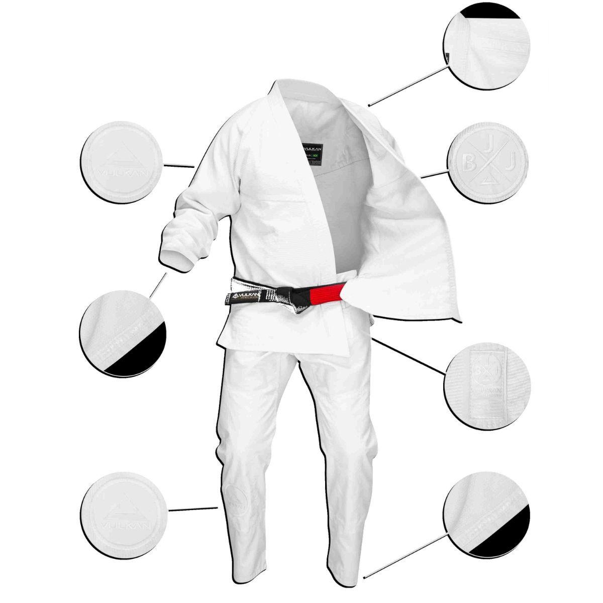 Kimono Vulkan Pro Stealth Para Jiu Jitsu Branco Profissional Adulto - Pro Stealth