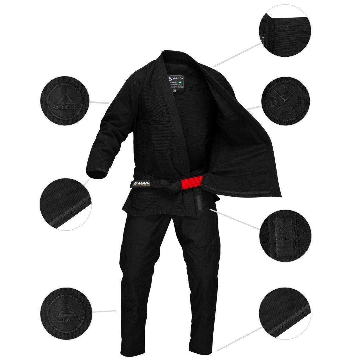 Kimono Vulkan Pro Stealth Para Jiu Jitsu Preto Profissional Adulto - Pro Stealth