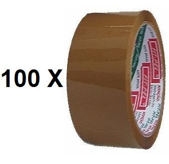 Kit 100 Fitas Adesivas Para Embalagem Koretech 48mm x 45m - Marrom