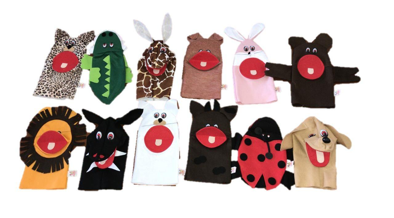 kit 12 Fantoches Feltro Animais Domésticos E Selvagens - Jodane 1005