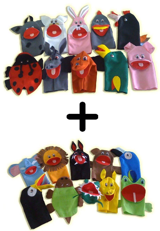 Kit 20 Fantoches em Feltro Animais Domésticos e Selvagens - Jodane