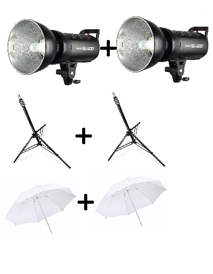 Kit Para Estúdio Fotográfico 2 Flash SK400II 220v + 2 Tripés ST803  + 2 Sombrinhas Brancas