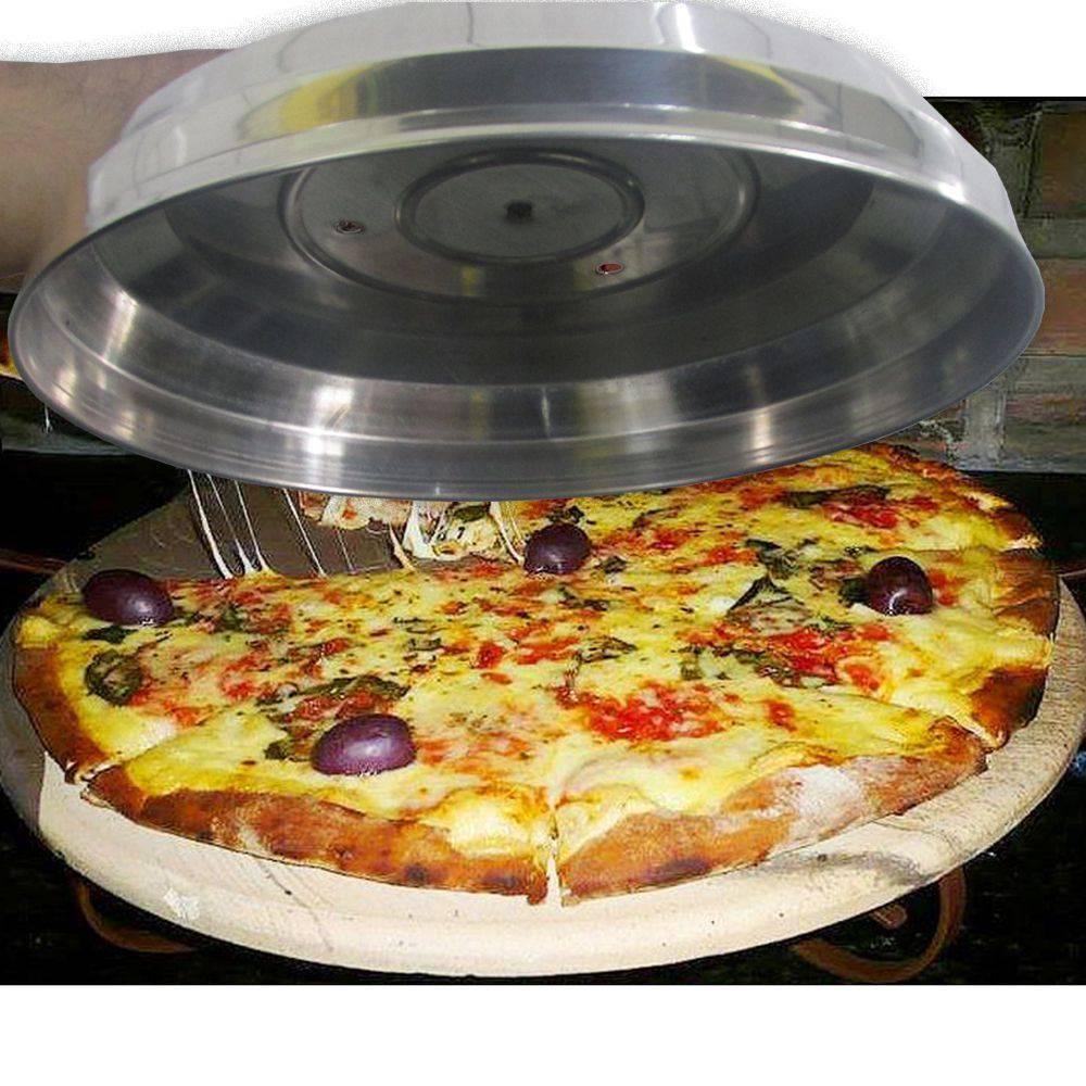 Kit Para Pizza 2 Forma 35cm + Abafador 40cm + Pá De Pizza + Raspadeira Inox Curvo 10cm