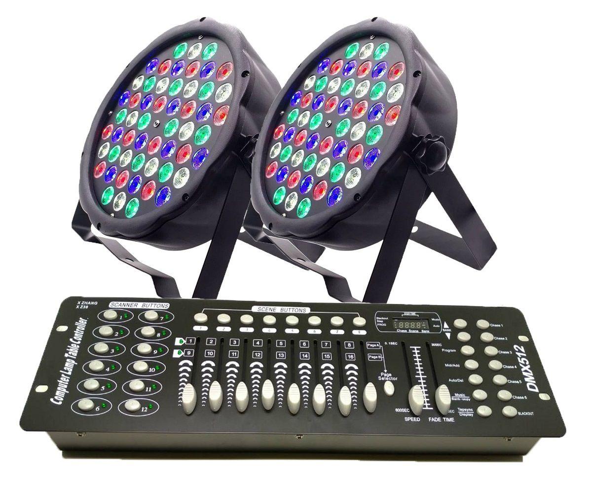 Kit 2x Luz Led Par 64 RBGW 54 Leds Strobo Painel Digital + Mesa DMX