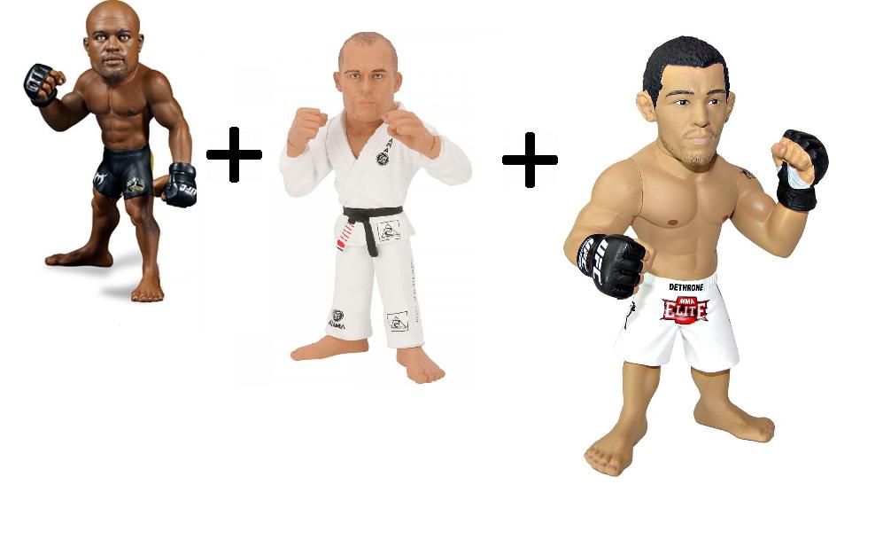 Kit 3 Bonecos Ultimate Fighting Championship Campeões Brasileiros - Anderson Silva Sem Camisa Royce Gracie E José Aldo