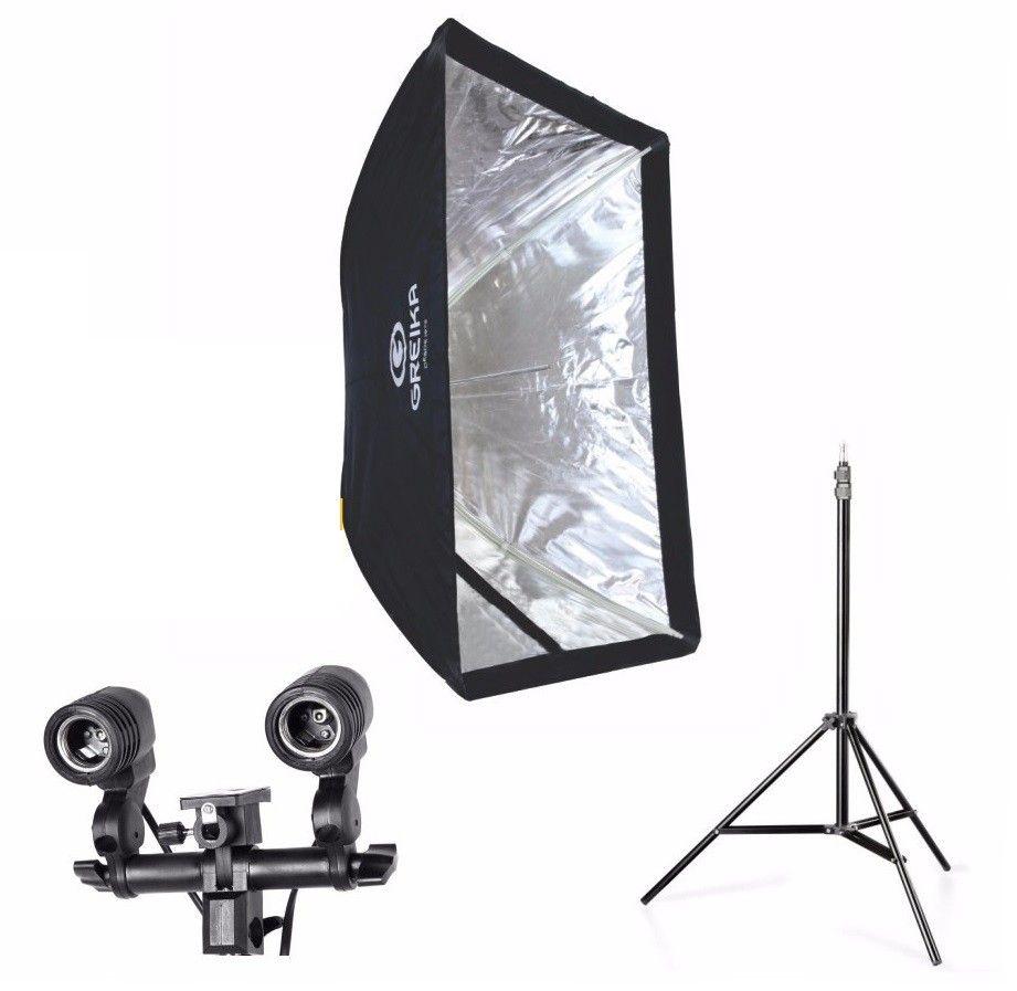 Kit 3 Em 1 Para Estudio Fotografico E Youtuber - Softbox 60x90 + Soquete Duplo Tipo E27 + Tripé 2 Metros st803