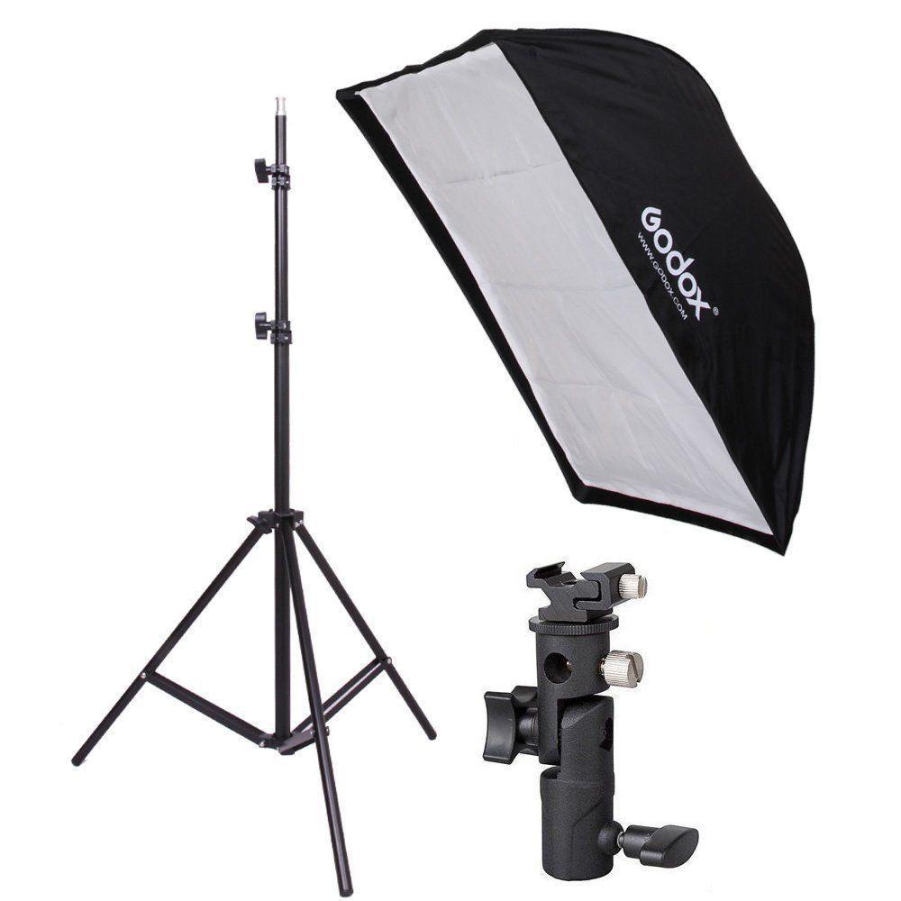 Kit 3 Em 1 Para Estudio Fotografico Softbox 60x60 Suporte Speedligth E Tripé 2 Metros