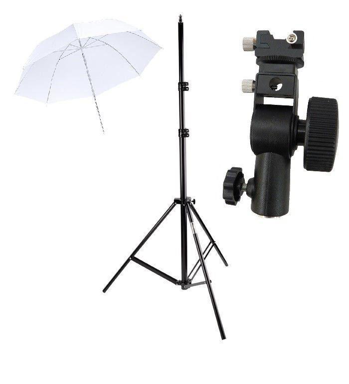 Kit 3 Em 1 Para Iluminação De Estúdio - Sombrinha difusora branca + Tripé 2 Metros st803 + Suporte Flash Speedlight