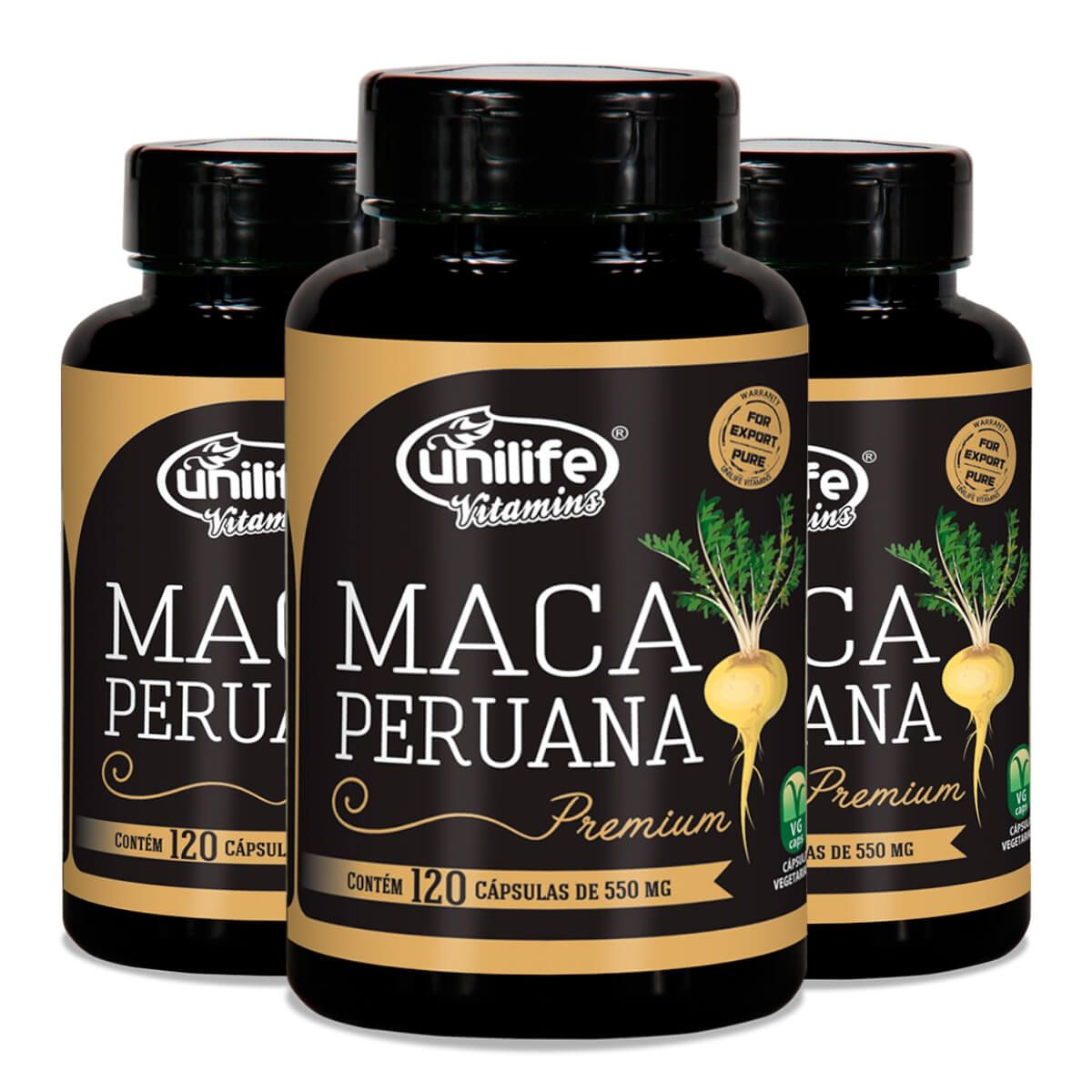 Kit 3 Maca Peruana Premium 100% Pura 550mg - 120 Cápsulas Original - Natueu