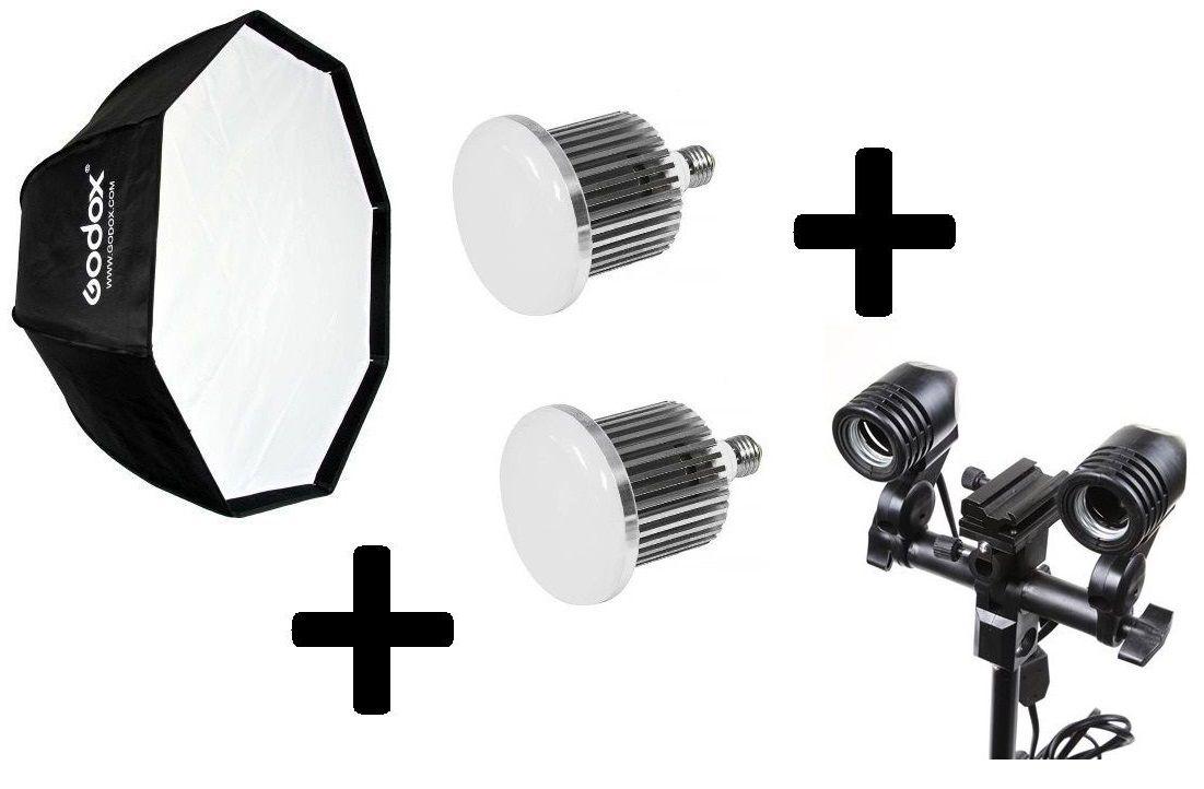 Kit Fotográfico Universal Octabox 95cm + 2 Lampadas De Led Bivolt 65w + Soquete duplo Iluminação Contínua