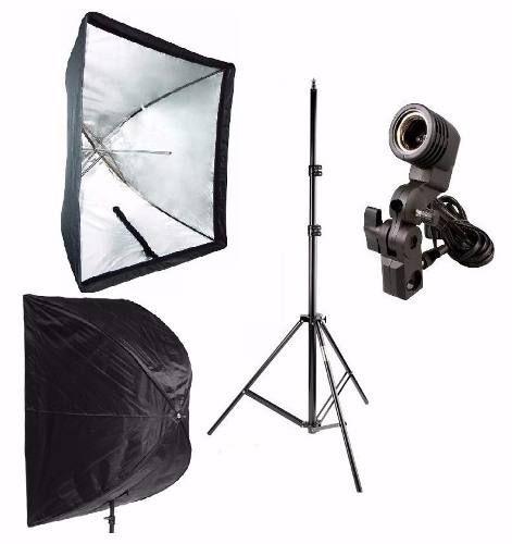 Kit 3x1 Para Estudio Fotografico - Tripé 2M + Soquete Simples + Softbox 60x90cm